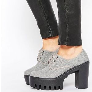 ASOS Overboard Gray Lace Up Platform Shoes Size 8